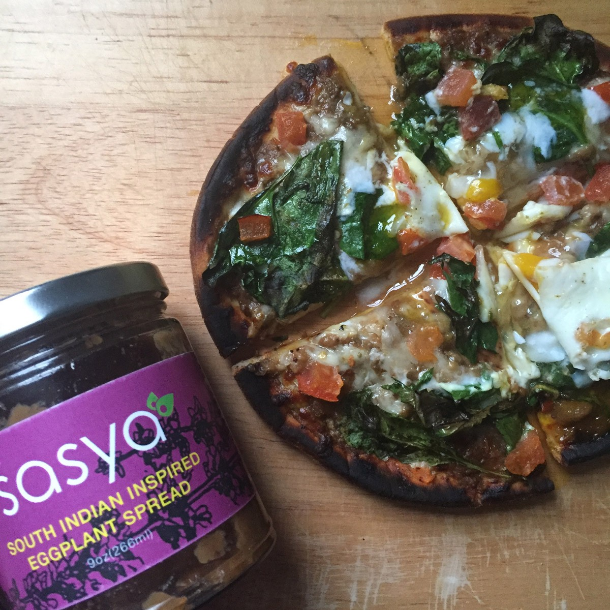 Picture of Eggplant Spinach Pita Pizza with Sasya Eggplant Spread