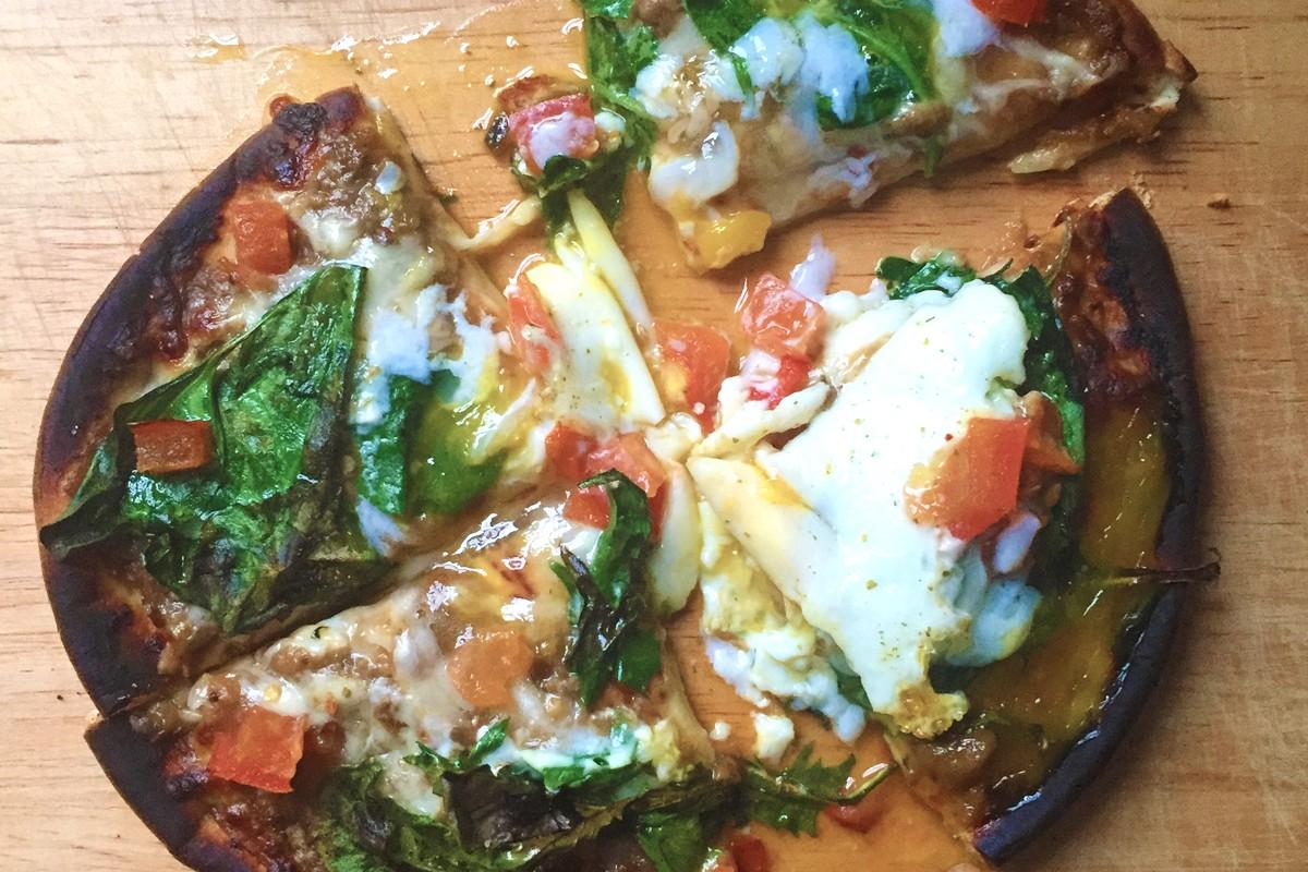 Spinach Pita Pizza Sasya Eggplant